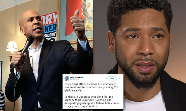 Corey Booker Backtracking his Modern Day Lynching Tweet about Jussie Smollett
